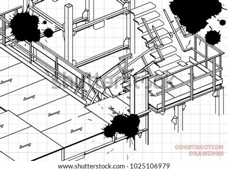 Building Metal Constructions Volumetric Constructions 3 D Stock
