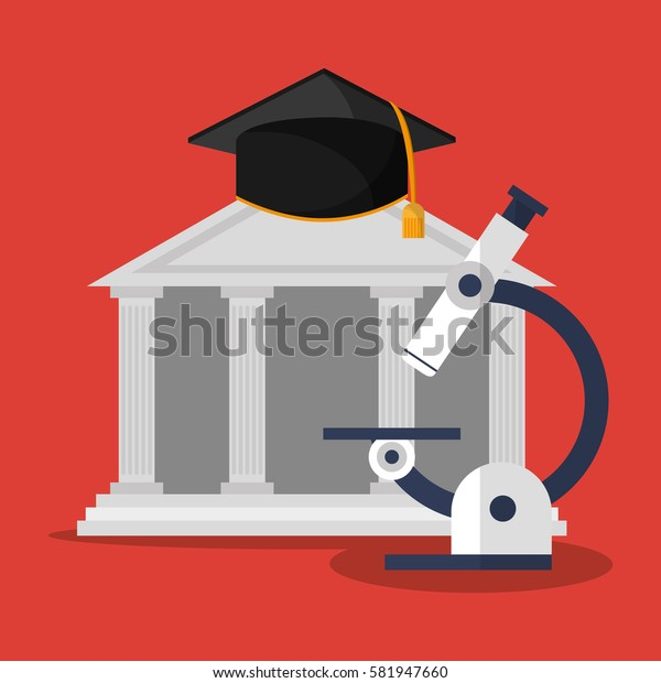 building microscope and graduation cap