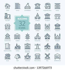 Building minimal thin line web icon set.  Outline icons collection. Simple vector illustration.