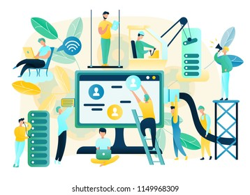 Building Modern Data Center, Setup and Support Stable Internet Connection, Bright Colors, Flat Vector Concept. User Technical Support and Computer Remote Diagnostic Service, Bug Troubleshooting Online
