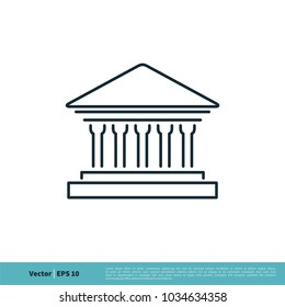 Building, Museum, Bank Icon Vector Logo Template