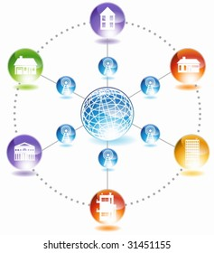 Home network diagram imagens fotos e vetores stock shutterstock building network a diagram representing communication over a wireless network of communities around the globe ccuart Images