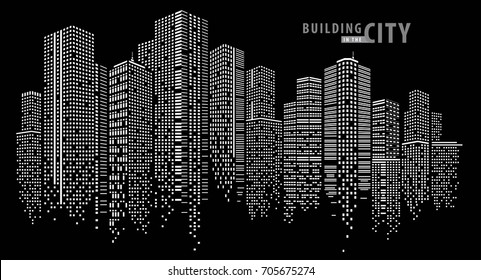 Building in the night City, City vector, skyline Perspective. Architecture vector