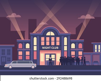 Building nightclub full house. Nightlife  evening, entertainment and event, disco show, flat vector illustration