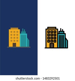 Building, Office, Tower, Head office  Icons. Flat and Line Filled Icon Set Vector Blue Background