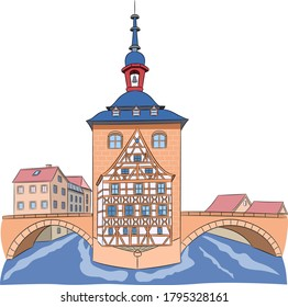 The building of the old medieval town hall on the bridge over the river. Bamberg. Bavaria Germany.
