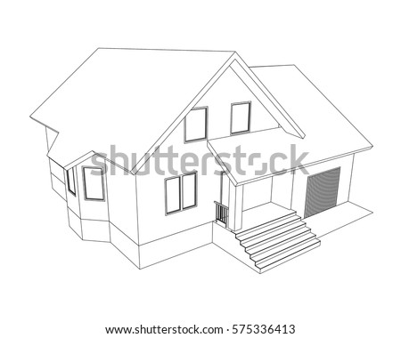 Awesome Building Perspective 3D. Drawing Of The Suburban House. Outlines Cottage On  White Background.