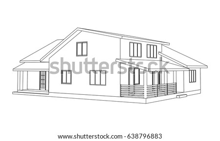 Building Perspective 3D. Drawing Of The Suburban House. Outlines Cottage On  White Background.