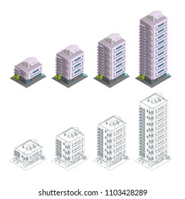Building. Phases of construction. Modern town house multiple floors. City residence architecture. Different quantity of floors. Contours, drawing isometry. Vector illustration