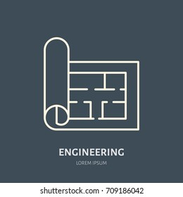 Building plan vector flat line icon. Architecture logo. Illustration of architectural drawing. Engineering survey service sign