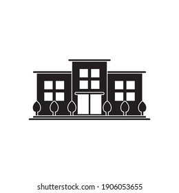building with plants the city icon symbol vector