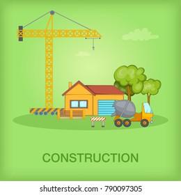 Building process concept cottage. Cartoon illustration of building process vector concept for web