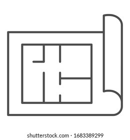 Building project thin line icon. House blueprint paper or home plan page symbol, outline style pictogram on white background. Construction sign for mobile concept and web design. Vector graphics