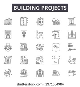 Building projects line icons, signs set, vector. Building projects outline concept, illustration: project,construction,building,architecture,house,engineering,design