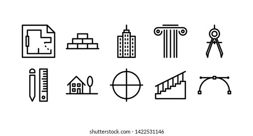 Building Real Estate Line Icon Set