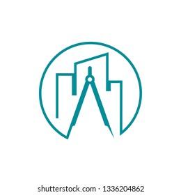 Building Realty Construction Architecture Compass Line Art Logo