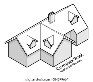 Building roof type: complex hip and valley roof, or cross hipped roof, with dormer windows and a chimney.