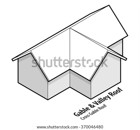 Building Roof Type Gable Valley Roof Stock Vector (Royalty Free ...