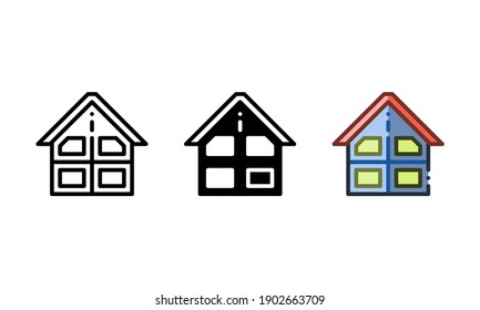 Building room icon. With outline, glyph, and filled outline styles