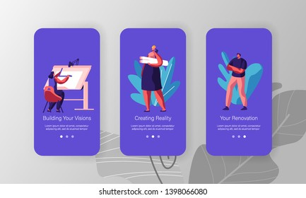 Building Service Concept. People Creating Architecture Construction Project, Paint Plan, Modeling Layout. Mobile App Page Onboard Screen Set for Website or Web Page, Cartoon Flat Vector Illustration