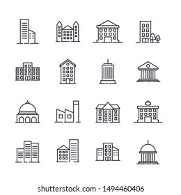 Building set icon symbol template color editable. Government buildings pack logo vector illustration for graphic and web design collection.