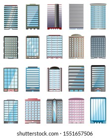 Building set medium size urban cityscape various buildings 20 unit flat gradient design using as a component work isolated on white background