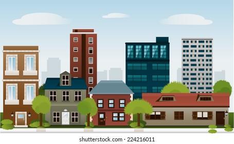Building set of sky scraper architectural construction outbuilding apartment house vector illustration.