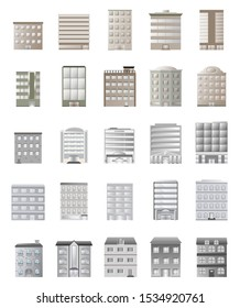 Building set urban cityscape various buildings 25 unit gradient style using as a component work isolated on white background