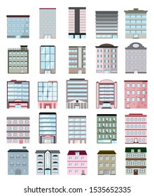Building set urban cityscape various buildings 25 unit flat design using as a component work isolated on white background