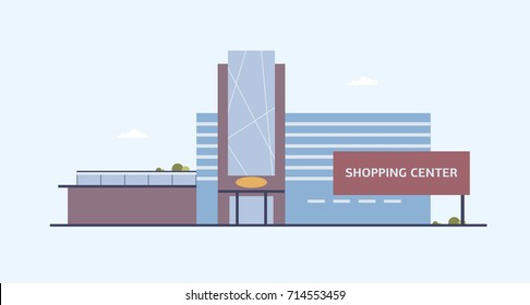 Building of shopping center with large windows and glass entrance door built in modern architectural style. Contemporary architecture, commercial property or real estate. Flat vector illustration.