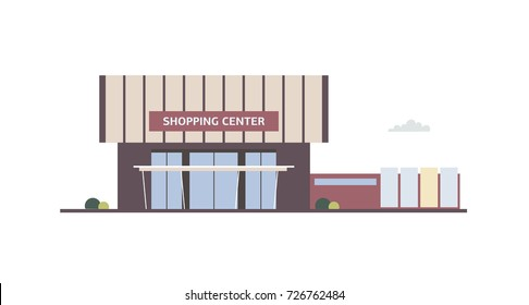 Building of shopping center, mall, outlet store with large windows and awning built in contemporary minimalistic architectural style. Commercial property or real estate. Flat vector illustration.