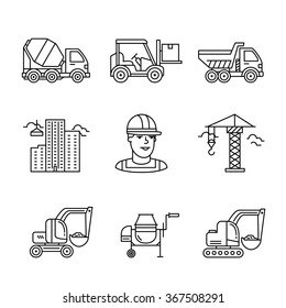 Building site engineering and machinery. Thin line art icons. Linear style illustrations isolated on white.