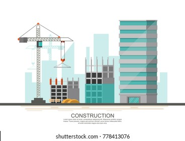 Building site work process under construction with cranes and machines. Vector illustration.
