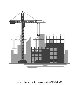 Building site work process under construction with cranes and machines.Vector illustration.