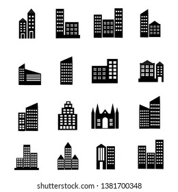 Building And Skyscraper Icon set, apartment and hotel symbol design vector