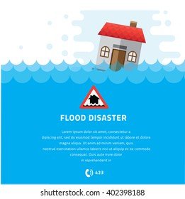 Building Soaking Under Flood Disaster Vector Illustration.