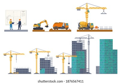 Building stages. House emergence, project discussion, pit digging, foundation pouring, frame construct, concrete panels. Machinery and equipment crane, truck at construction site vector flat concept