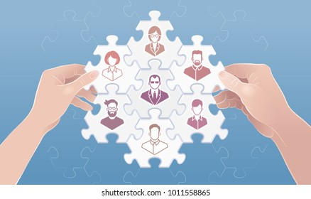 """Building A Successful Work Team. Metaphoric vector illustration on the subject of """"Business Relations""""."""