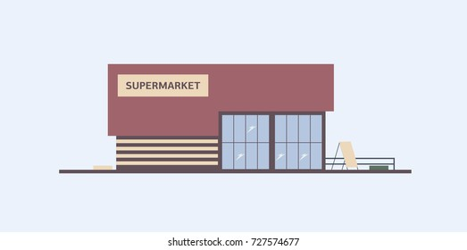 Building of supermarket, grocery store or food market with large windows built in modern architectural style. Shopping center, commercial property or real estate. Colorful flat vector illustration.