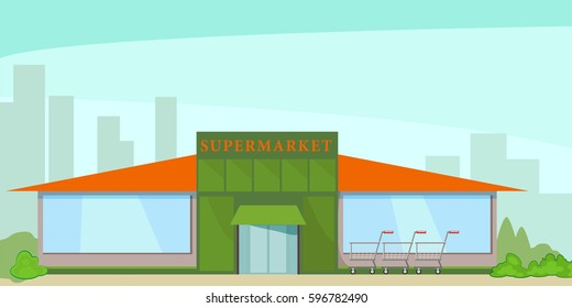 Building a supermarket on the background of the silhouettes of residential buildings. Vector, illustration in flat style isolated on white background EPS10.