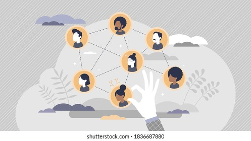 Building team with members selection for work project tiny persons concept. Professional recruitment and hiring with specific skills for job vector illustration. Successful business teamwork planning.
