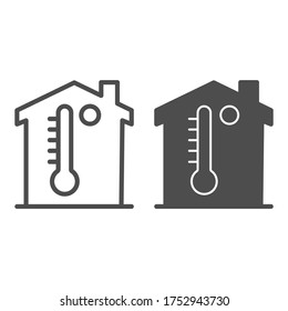 Building and thermometer line and solid icon, smart home symbol, home microclimate vector sign on white background, room temperature icon in outline style mobile concept, web design. Vector graphics