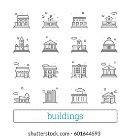 Building thin line icons. Public, government, education & personal houses. Modern linear vector design elements of places for maps, web interface & mobile services. Isolated on white.