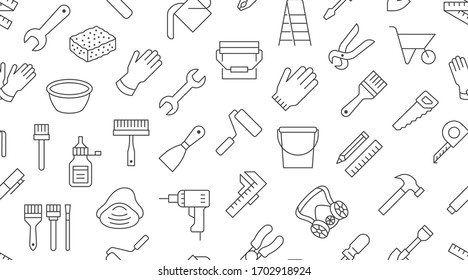 Building tools background, repair equipment seamless pattern with flat line icons of paintbrush, wrench, screwdriver, hammer and others. Construction works vector illustration black white color.