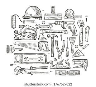 Building tools hand-drawn sketch. Construction vector illustration