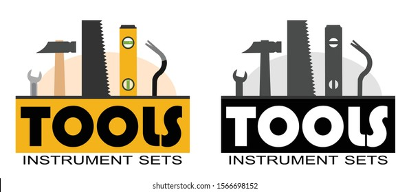 Building tools. Logo. Construction, decoration, repair of houses, offices. logotype. Repair Services. Tool kits. Sale, rent. Hand instruments. Score. Shop Plumber, locksmith, carpenter, foreman. Work