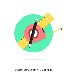 Building tools. Measuring tape, ruler, pencil in the circle. Modern flat style. Vector icon