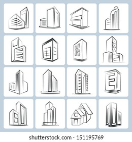 building, tower icons, sketch style