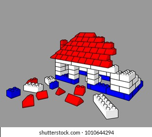 building a toy house with lego blocks