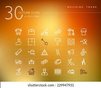Building trade and construction outline icons set for web and mobile app. EPS10 vector file organized in layers for easy editing.